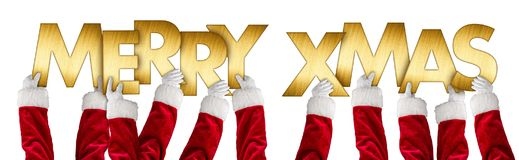 Merry xmas christmas greeting santa claus hands gold letters Royalty Free Stock Photos