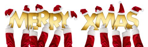 Merry xmas greeting santa claus hands gold letters Stock Images