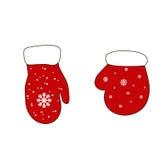 Santa Claus-handschoenen, vuisthandschoenenillustratie Stock Afbeeldingen