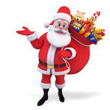 Santa claus hanging gift bag to the back Stock Photography
