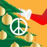 Santa Claus Hangs a Peace Symbol Stock Photography