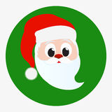 Santa Claus happy face portrait. Icon isolated on green circle background. Red Christmas hat and white beard and mustache.  vector Stock Images
