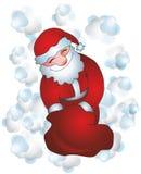 Santa Claus. Happy Santa Claus and gift bag Royalty Free Stock Images