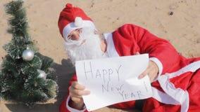 Santa claus happy new year blank  noel  present. Hoho stock video footage