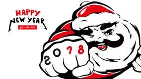 Santa Claus happy new year card 2018 Vector.  Stock Photos