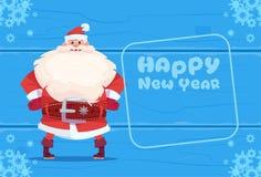 Santa Claus On Happy New Year Greeting Card Christmas Holiday Concept. Flat Vector Illustration Royalty Free Stock Photos
