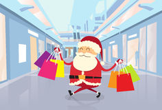 Santa Claus Happy Shopping Walking with Bags in. Shop Mall Center Christmas Holiday Flat Vector Illustration Stock Photography