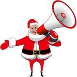 Santa Claus Happy Speaking Megaphone Xmas aisló Imágenes de archivo libres de regalías