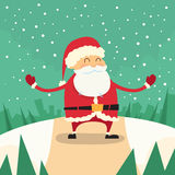 Santa Claus Happy Standing Winter Snow Forest Road. Christmas Holiday Flat Vector Illustration Royalty Free Stock Photos