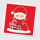 Santa Claus is happy on Xmas gift boxes  cartoon illustration for Christmas card design. Wallpaper and greeting card Royalty Free Stock Image