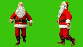 Santa Claus har gyckel som går på den gröna skärmen under jul framförande 3d stock illustrationer