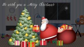 Santa Claus har halkat in i huset för att lämna under trädet alla gåvor royaltyfri illustrationer