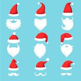 Santa Claus hat and beard. Christmas traditional red warm hats with fur, white beards with mustaches cartoon stock illustration