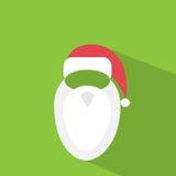 Santa claus hat beard flat icon design vector Royalty Free Stock Images