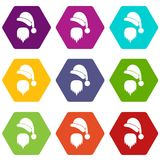 Santa Claus hat and beard icon set color hexahedron. Santa Claus hat and beard icon set many color hexahedron isolated on white vector illustration Stock Photos