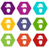 Santa Claus hat and beard icon set color hexahedron. Santa Claus hat and beard icon set many color hexahedron isolated on white vector illustration Stock Images