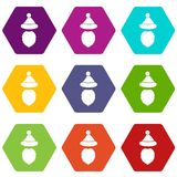 Santa Claus hat and beard icon set color hexahedron. Santa Claus hat and beard icon set many color hexahedron isolated on white vector illustration Royalty Free Stock Photography