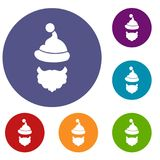 Santa Claus hat and beard icons set. In flat circle reb, blue and green color for web Royalty Free Stock Photo