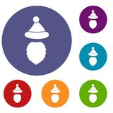 Santa Claus hat and beard icons set Stock Images