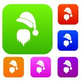 Santa Claus hat and beard set collection. Santa Claus hat and beard set icon in different colors isolated vector illustration. Premium collection Royalty Free Stock Photography