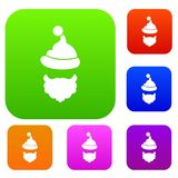 Santa Claus hat and beard set collection. Santa Claus hat and beard set icon in different colors isolated vector illustration. Premium collection Stock Photography
