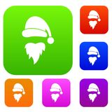 Santa Claus hat and beard set collection. Santa Claus hat and beard set icon in different colors isolated vector illustration. Premium collection Stock Images