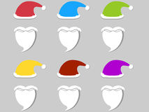 Santa Claus hat and beard. Set of different colors. Flat design. Vector illustration Stock Photos