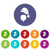 Santa Claus hat and beard set icons. In different colors isolated on white background Royalty Free Stock Photos