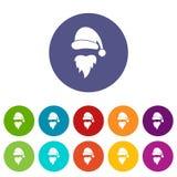 Santa Claus hat and beard set icons Royalty Free Stock Image