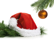 Santa Claus hat and christmas ball Royalty Free Stock Image