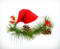 Santa Claus Hat, Christmas Tree And Cones Stock Image