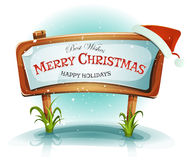 Santa Claus Hat On Christmas Wood Sign Stock Images