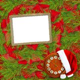 Santa Claus hat, clock and Christmas tree with frame Stock Images