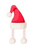 Santa Claus Hat con due trecce isolate su bianco Fotografia Stock