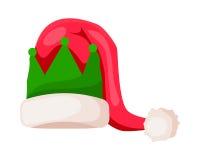 Santa Claus Hat con la corona verde su bianco Fotografia Stock