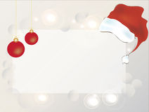 Santa Claus Hat on an Empty Banner Royalty Free Stock Photos