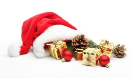 Santa Claus hat with gifts Royalty Free Stock Photo