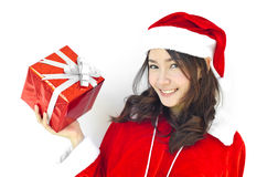 Santa claus hat with grey christmas Royalty Free Stock Images