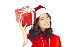 Santa claus hat with grey christmas Royalty Free Stock Photos