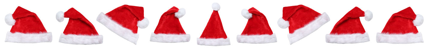 Santa Claus hat hats on Christmas in a row winter isolated Stock Photography