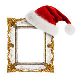 Santa Claus hat hung on the vintage frame Royalty Free Stock Photography