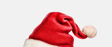 Santa Claus hat isolated on white background. Close up Royalty Free Stock Photos