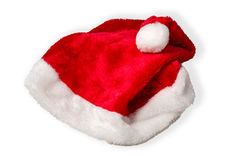 Santa Claus Hat Isolated on White. Traditional red Santa Claus hat studio shot isolated on white background Stock Images