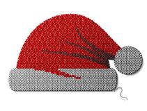 Santa Claus hat of knitted fabric  on white Royalty Free Stock Photos