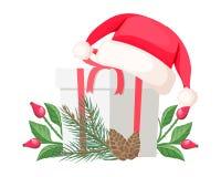 Santa Claus Hat Lying op Giftboog met Rood Lint royalty-vrije illustratie