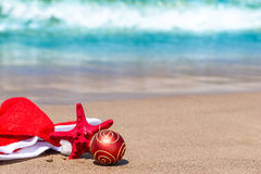 Santa Claus hat   near the sea Stock Image