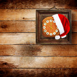 Santa Claus hat on New Year's night stock images