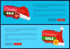 Santa Claus Hat 55 Off Sign on Discount Labels. Santa Claus hat and 55 off sign on discount labels vector illustration advertisement posters with text, Christmas Royalty Free Stock Images
