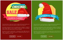 Santa Claus Hat Promo Label Christmas Sale Concept. Santa Claus hat on promo labels Christmas sale concept, vector website poster with text, online web buttons Stock Photo