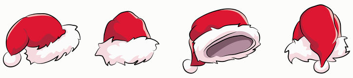 Santa claus hat. Set consisting of four hat drawn with different viewpoints Royalty Free Stock Image